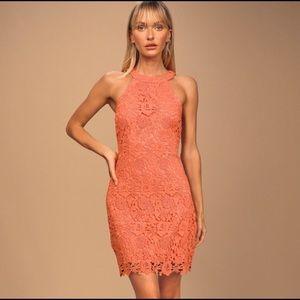 Lulus Love Poem Orange lace Dress NWT